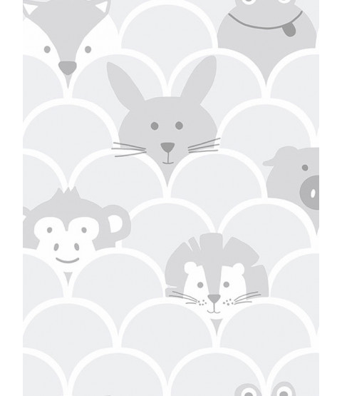 Over the Rainbow Peek a Boo Animals Wallpaper Grey Holden 91030