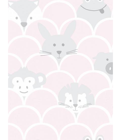 Over the Rainbow Peek a Boo Animals Wallpaper Pink / Grey Holden 91031