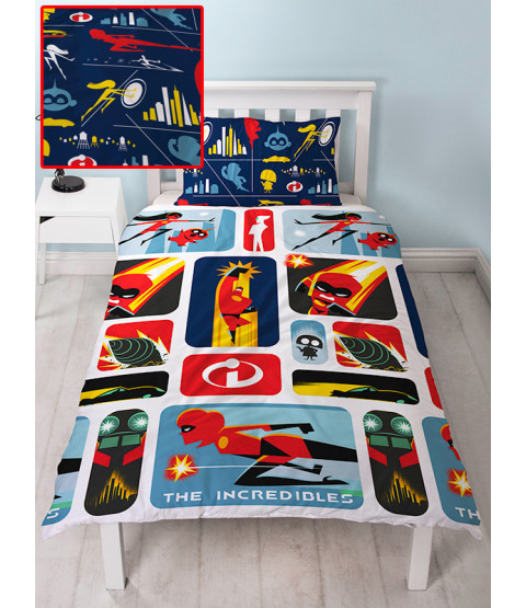 Incredibles 2 Retro Single Duvet Cover and Pillowcase Set