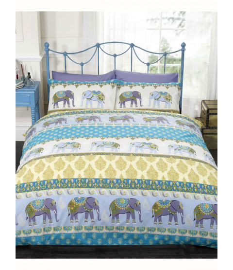 Jaipur Elephant Double Duvet Cover and Pillowcase Set - Blue