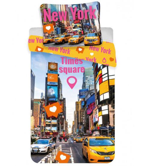 New York Times Square Single Cotton Duvet Cover Set