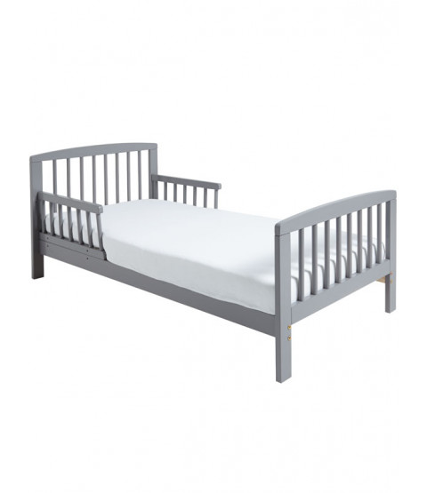 Classic Wooden Toddler Bed Grey Plus Fully Sprung Mattress