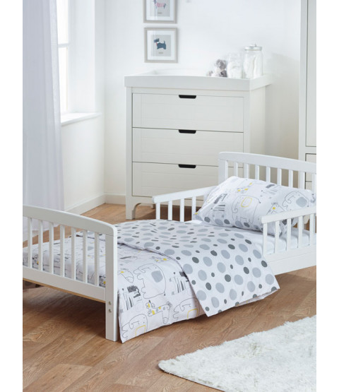Pacchetto biancheria da letto Junior Safari Friends 5 in 1 (piumone, cuscino, coperte, lenzuola)