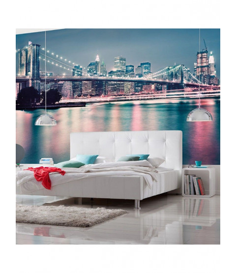 New York Brooklyn Bridge Neon Photo Wall Mural 368cm x 254cm