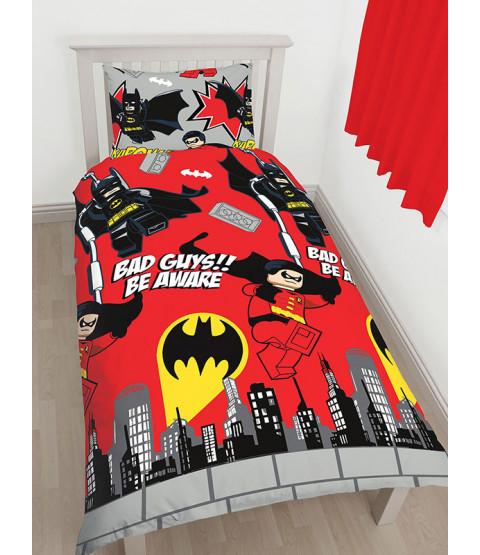 Lego DC Superheroes Batman Kapow Single Duvet Cover Set - Rotary Design