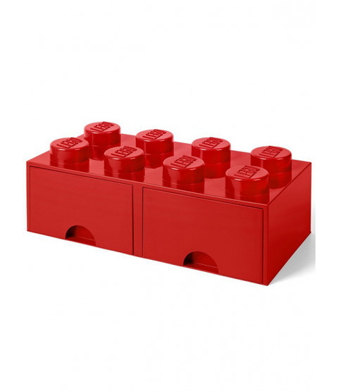 Lego Brick Storage Box 8 with 2 Drawers - Red