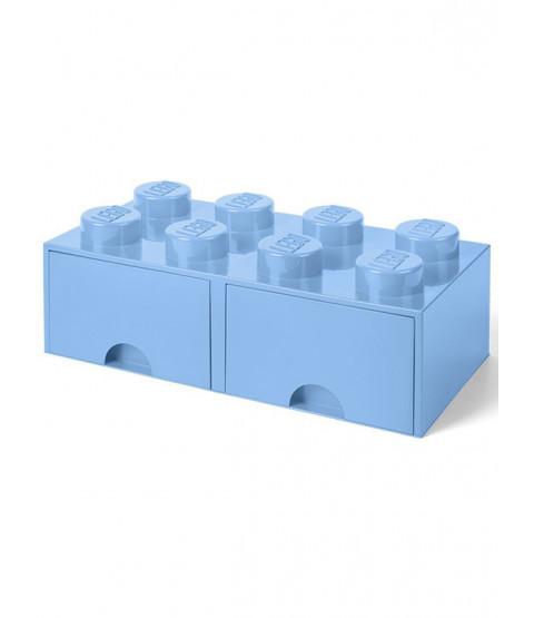 Lego Brick Storage Box 8 with 2 Drawers - Blue