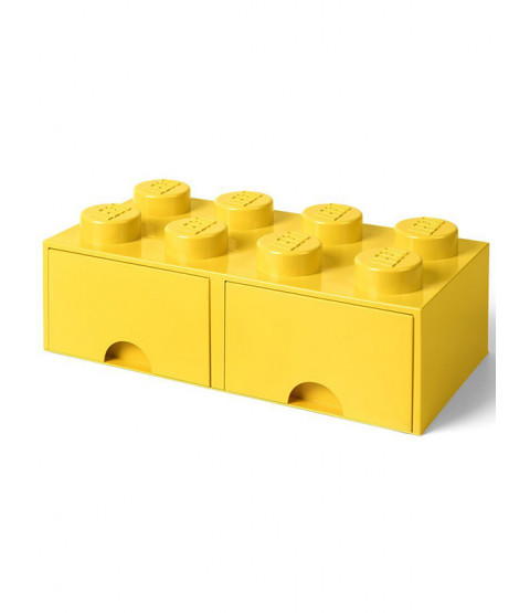 Lego Brick Storage Box 8 with 2 Drawers - Yellow