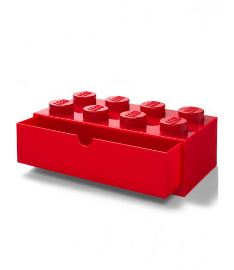 Lego Brick Storage Desk Drawer 8 - Red