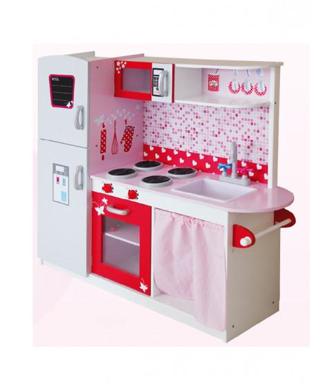 Leomark Big Wooden Kitchen with Fridge - Pink