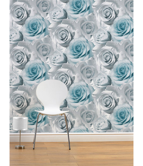 Madison Rose Floral Wallpaper - Blue - 119503 Feature Wall