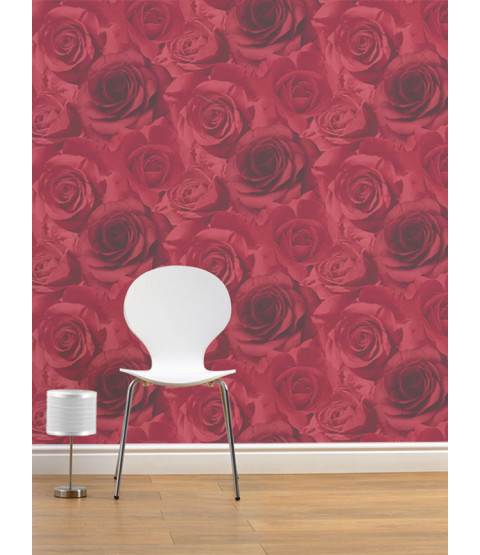 Papel tapiz floral Madison Rose - Rojo - 119502