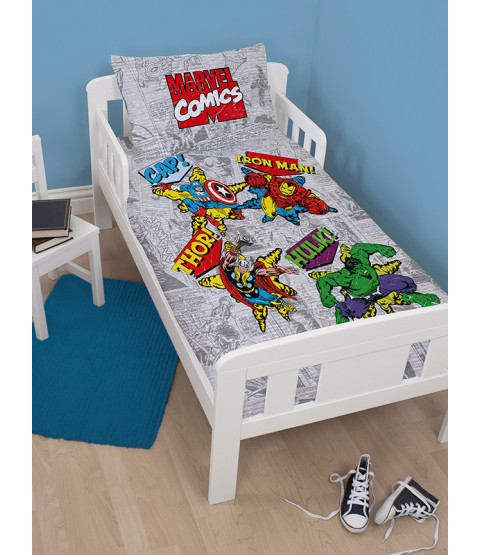 Marvel Comics Retro 4 in 1 Toddler Bedding Bundle (Duvet, Pillow, Covers)