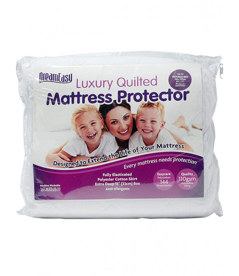 Dreameasy Quilted Polycotton Mattress Protector - Single, White
