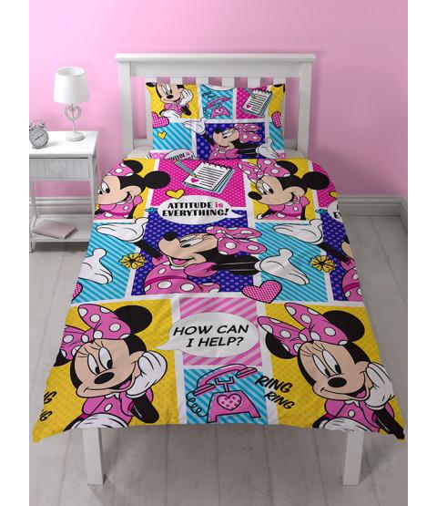 Minnie Mouse Attitude Single Rotary Duvet Cover Set
