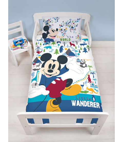 Mickey Mouse Wanderer 4 in 1 Toddler Bedding Bundle Set (Duvet, Pillow and Covers)