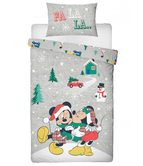 Mickey and Minnie Mouse Noel Single Duvet Cover Set