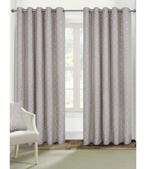 Belle Maison Lined Eyelet Curtains - Milano Range, Natural