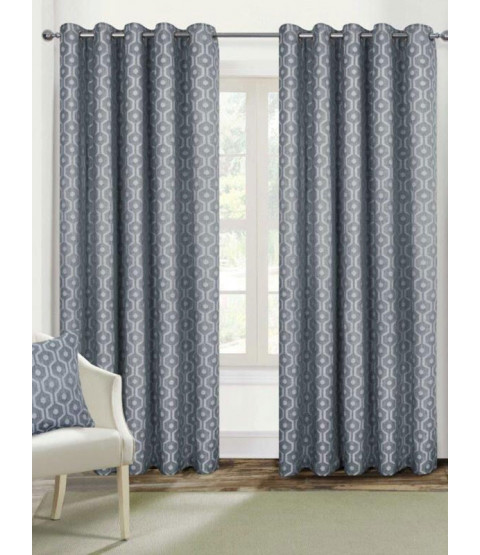 Belle Maison Lined Eyelet Curtains - Milano Range, Silver