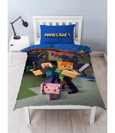 Minecraft Single Duvet Cover and Pillowcase Set