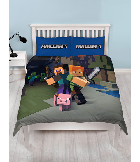 Minecraft Double Duvet Cover and Pillowcase Bedding Set