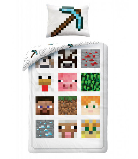 Minecraft Single White Cotton Duvet Cover Set - European Size