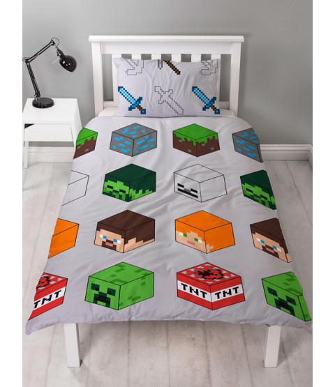 Minecraft Pixels Single Duvet Cover and Pillowcase Set