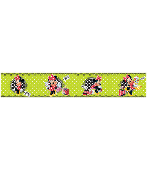 Minnie Mouse Polka Dot Green Self Adhesive Wallpaper Border 5m