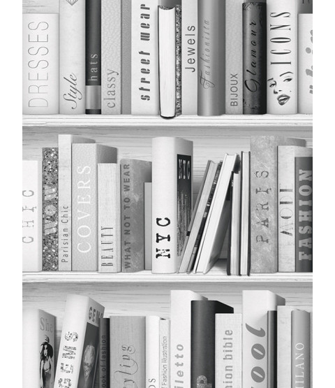 Fashion Library Bookcase Wallpaper - Silver - 139502
