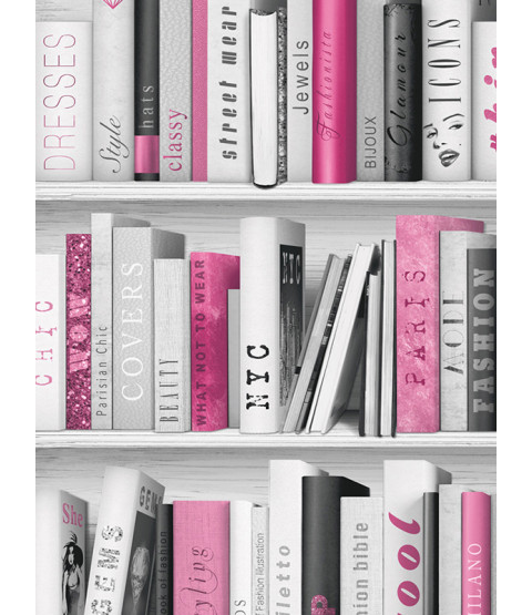 Fashion Library Bookcase Wallpaper - Pink - 139501