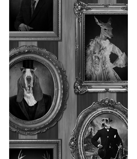 Muriva Dogs in Frames Wallpaper - J59309