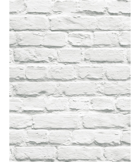 Muriva Painted White Brick Wallpaper - 102539