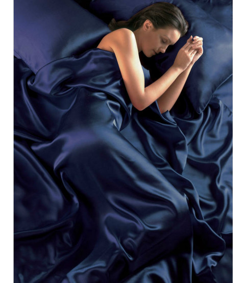 Navy Blue Satin Duvet Cover, Fitted Sheet and Pillowcases Bedding Set