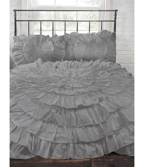 Naya Ruffle Silver King Duvet Cover and Pillowcase Set
