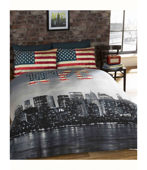 New York Skyline Single Duvet Cover & Pillowcase Set