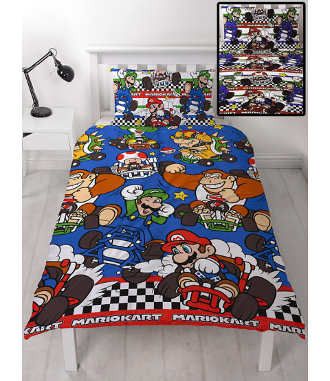 Nintendo Set copripiumino e federa singolo Mario Racer