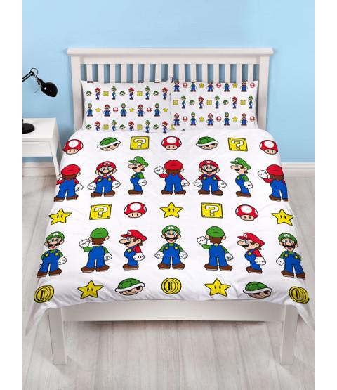 Nintendo Super Mario Stack Double Duvet Cover and  Pillowcase Set
