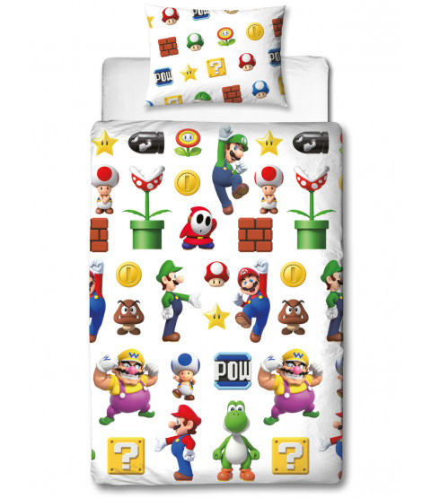 Ensemble housse de couette simple Nintendo Super Mario Lineup