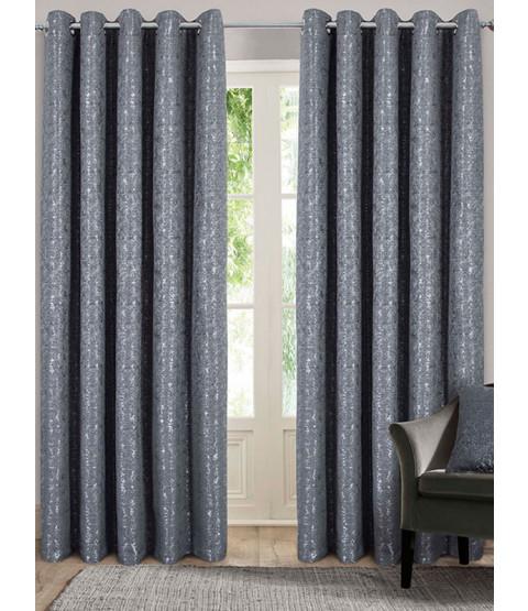 Belle Maison Lined Eyelet Curtains - Nova Range, Charcoal