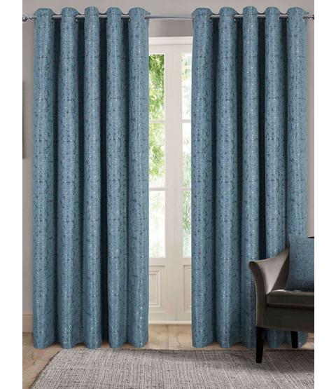 Belle Maison Lined Eyelet Curtains - Nova Range, Duck Egg