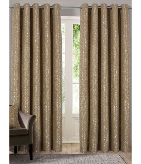Belle Maison Lined Eyelet Curtains - Nova Range, Gold