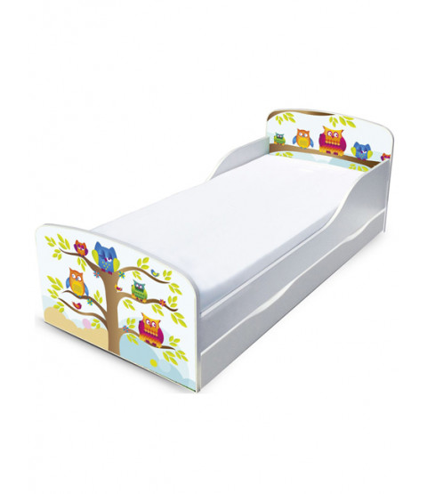 PriceRightHome Owls Toddler Bed with Underbed Storage and Fully Sprung Mattress