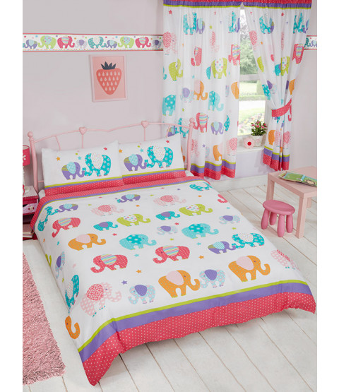 Patchwork Elephant Double Duvet Cover and Pillowcase Set Bedroom