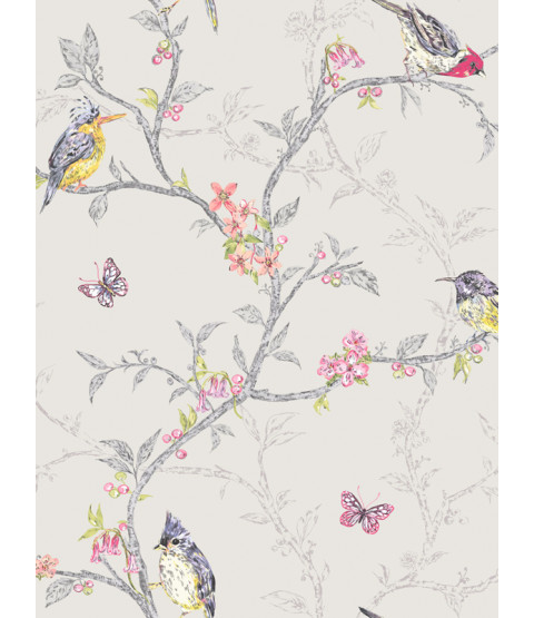 Phoebe Birds Wallpaper - Dove Grey - 98081