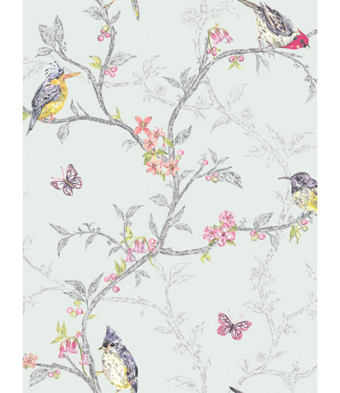 Phoebe Birds Wallpaper - Soft Teal - 98083