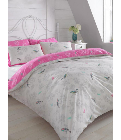 Vintage Birds Pink Double Duvet Cover and Pillowcase Set