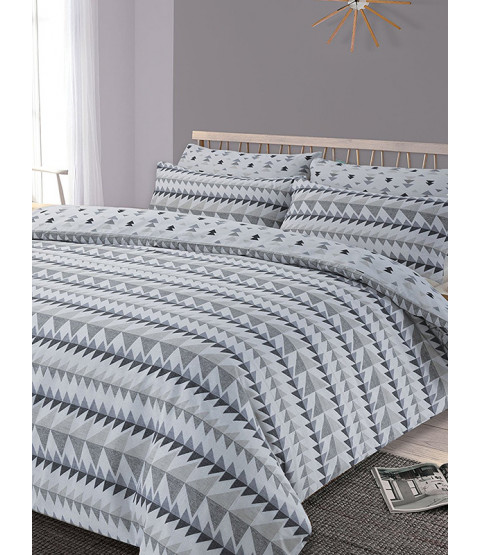 Rewind Geometric Single Duvet Cover and Pillowcase Set - Grey