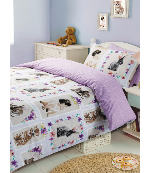 Pet Love Double Duvet Cover and Pillowcase Set Lilac