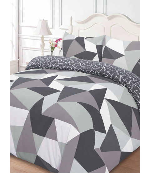 Shapes Geometric Single Duvet Cover and Pillowcase Set - Black