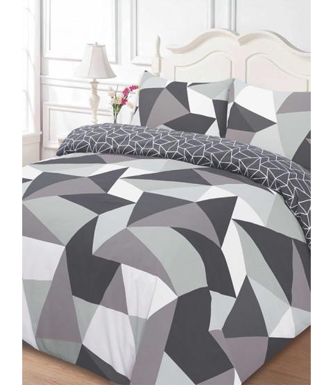 Shapes Geometric Double Duvet Cover And Pillowcase Set - Black